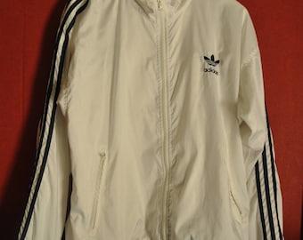 Vintage 80s90s Windbreaker Adidas Trefoil  White BlueStripes Size M