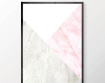 Marble Wall Print - - Wall Art, Marble Print, Grey White And Pink, Personal Print, Home Decor