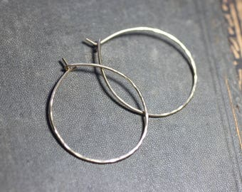 Hammered Gold Hoop Earring 14k Gold Filled Hoops 1 Inch Medium Textured Hoops One Inch