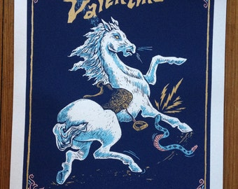 Limited edition, handmade, silk screen, print of a horse