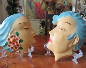 Rare Vintage Exotic Man And Woman Wall Plaques
