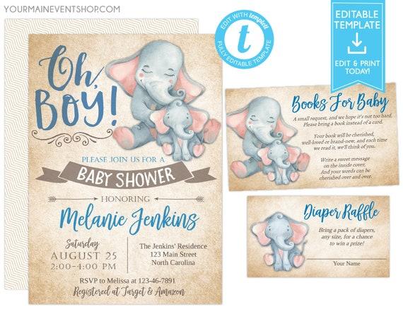 Elephant Baby Shower Invitation, Safari Elephant Invitation, Editable invitation, Boy Baby Elephant Invitation, Instant Download,