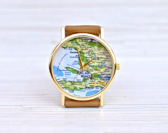 Earth watch etsy map watch women gift birthday traveler leather gumiabroncs Image collections
