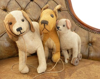 Vintage Seated Dog Soft Toy Circa 1950