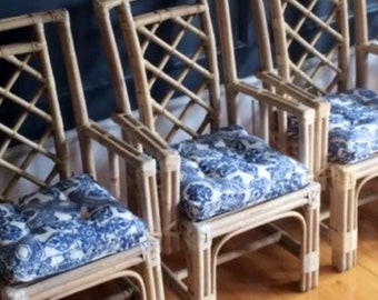 Set Of Six Vintage Rattan Chairs By McGuire