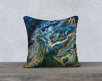 """Indigo Bird Pillowcover 18"""""""