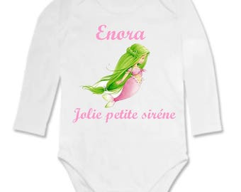 Little Mermaid personalized with name baby Bodysuit