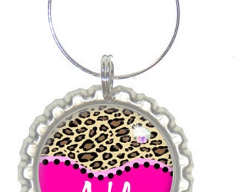 Set of 6 -PERSONALIZED WINE CHARMS - Hot Pink Cheetah - Swavorski Crystals- Perfect For Bachelorette Party Favors, Wedding Favor, and Gifts