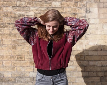 Cord Bomber Jacket with Paisley Sleeves