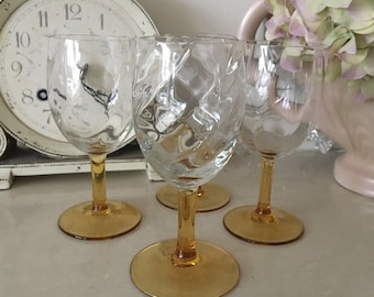 Set of 4 Beautiful Vintage Small Swirl Glasses with Amber Stems