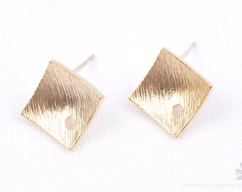 E279-MG// Matt Gold Plated Crooked Square Earring Post, 2pcs