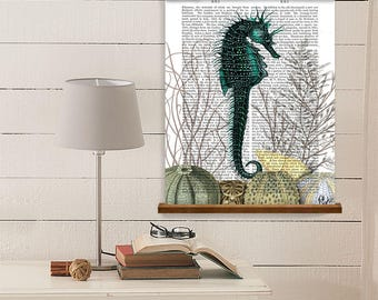 Nautical art decor - Seahorse and sea urchins - Gift for her Beach wall art large Poster hanger Coastal decor Ocean painting Washroom art