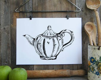 Teapots printable, Antique teapot wall art, Kitchen decor, Art & collectibles, Room decor, DIY home decor, Clip art, Kitchen decor