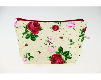 Beige cotton with red flowers and roses. pouch, lined cotton.