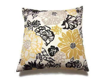 Decorative Pillow Cover, Modern Floral, Yellow, Black, White, Taupe, Gray, Same Fabric Front/Back, Toss,Throw, Accent, 18x18 inch x
