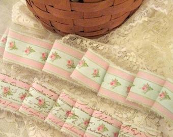 French Inspired Ribbon, Vintage Rose Trim, Floral Ribbon Trim, Vintage Inspired Ribbon, Rose Ticking Trim Ribbon ECS