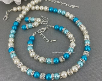 Shades of Blue Necklace Set Bridesmaid Gift Maid of Honor Gift for Her Destination Wedding Jewelry