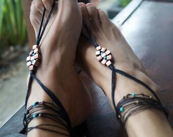 Turquoise Copper Barefoot Sandals, Boho Barefoot Sandal, Earthtone Tribal Sandals, Anklets, 1 Pair