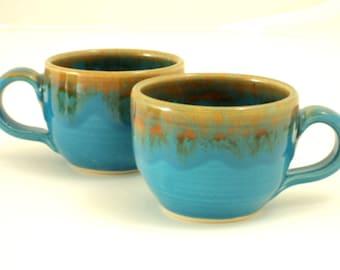 Espresso Cups x 2 in Turquoise Mottle Glaze