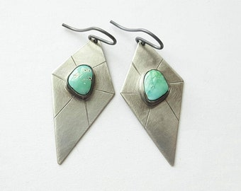 Turquoise Earrings Carico Lake Turquoise Earrings Sterling Silver Earrings Shield Earrings Geometric Earrings Unique Earrings