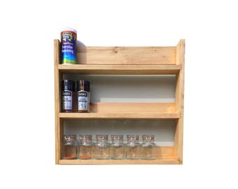 Rustic Spice Rack | 3 Shelves | 41cm Tall | Open Top | Stripped Pine Finish | Spice Jars, Nail Polish, Aromatherapy Bottles