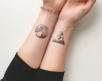 Mountains & Waves  - Temporary Tattoo (Set of 2)