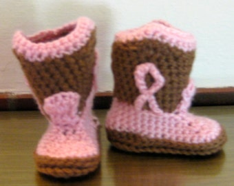 Booties, Cowgirl Boots, Cocoa Brown and Pink, Handmade