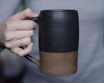 Ceramic Mug, Modern Mug, Pottery Mug, Ceramic Beer Stein, Housewarming Gift, Coffee Gift, Beer Gift, Husband Gift, Handmade Mug, Black