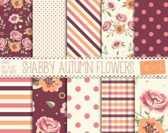 "Shabby digital paper : ""Shabby Autumn Flowers"" digital floral paper with roses, gingham, stripes and polkadots, decoupage paper, pink roses"