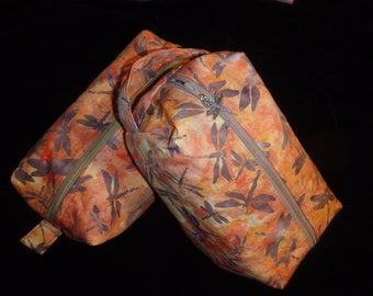 Dragonfly Pouch, Batik Dragonflies Travel Bag, Ditty Bag, Dopp Kit, Toiletry Bag, Pencil Case, Wet Sack, Go Bag, Cosmetics Pouch,