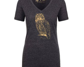 Owl V-Neck T-Shirt, 10% donated to animal causes