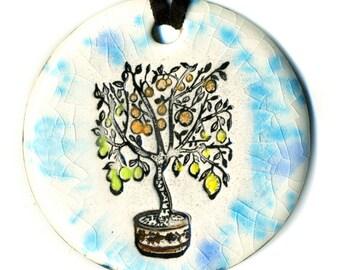 Fruit Salad Tree Ceramic Necklace Multicolor Speckle