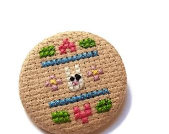 Bunny Pin-Sampler Badge-Handmade Cross Stitch-Fiber Art-Gift for Teens-Pet Lover Gift-Pin game Strong-Rabbit Accessory-Cute Kawaii-Fun Style