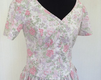 "LAURA ASHLEY Floral Tea Dress - Vintage - Summer - Wedding - Garden Party - 32"" Bust - Free UK Postage"