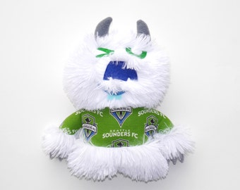 Whoosh the Monster Seattle Sounders Fan plush, stuffie, cuddly, sports, white, plushie, lovie, stuffed animal, monster