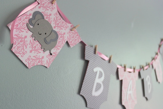 Elephant Baby Shower Banner Its A Girl Pink And Gray