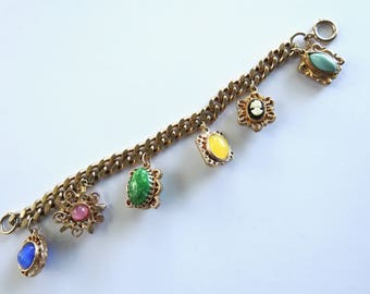 1960s Lucite Cameo Charm Bracelet