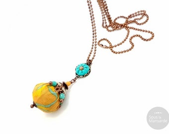 Long necklace yellow fabric and turquoise polymer clay, long necklace turquoise