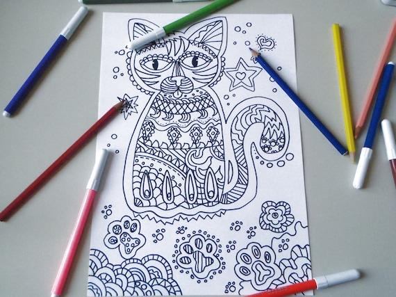 Gatto disegno da colorare per adulti zen meditazione da for Disegni da colorare per adulti e ragazzi