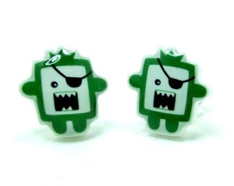 Green Pirate Monster Earrings | Sterling Silver Posts Stud | Gifts For Her