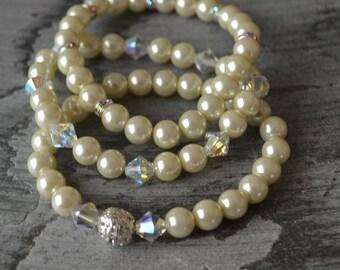 Ivory Glass Pearl Bracelet Swarovski Crystal Wedding/Bridal/Special Occasion Set of 3