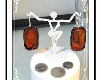 Amber Colored Earrings = Unusual Framed Pierced   E2242a-120413000