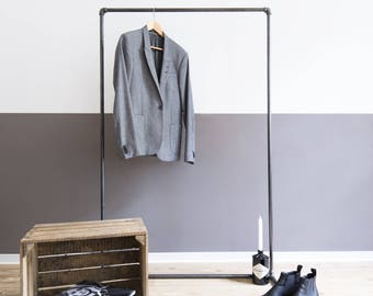 clothing stand pipe garnment steel - clothes rack - - clothes rail - open wardrobe - decent - black galvanized