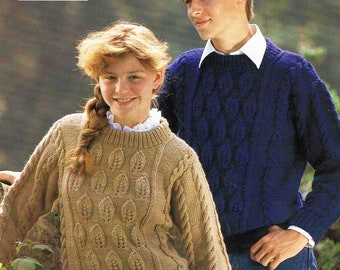 Round Neck Aran Sweater Pullover Jumper - Size 76 to 91 cm (30 to 34 inch) - Lister Lee  1874 - Vintage Knitting Pattern