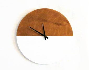 Modern Wall Clock, White Wood Wall Art and  Home Decor