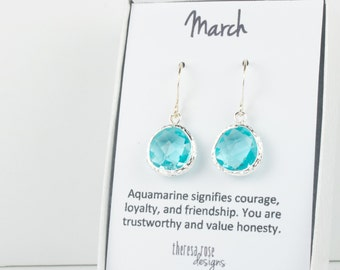 March Birthstone Aquamarine Silver Earrings, Aquamarine Silver Dangle Earrings, March Birthstone Silver Earrings, Bridesmaid Earrings, #794