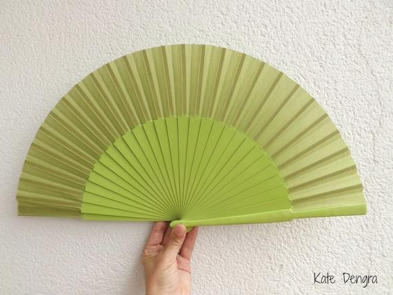 L Green Plain Wooden Hand Fan Ready To Customize