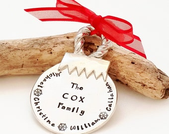 Personalized Christmas Ornament - Hand Stamped Christmas Tree Ornament - Pewter Christmas Ball ornament - Personalized Christmas Ornament