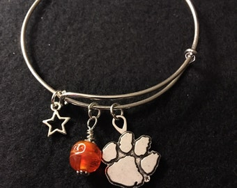 CLEMSON TIGERS Silver Alloy adjustable wire wrap bracelet with FREE shipping