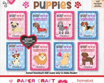 Puppy Valentine Cards | Printable Classroom Valentines | Classroom Exchange Cards | By Paper Craft Valentines